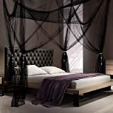 4 Corner Post Bed Canopy Bedroom Canopy Curtains with 4 Pieces Tassel Hanging Pendants for King Size Bed and Large Queen Size
