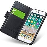 iphone6sケース iphone6ケース 手帳型 薄型 スマホケース PUレザー 全面保護 耐衝撃 カード収納 マグネット付き ストラップホール付き スタンド機能 シンプル おしゃれ (アイフォン6sケース/アイフォン6 ケース ブラック)