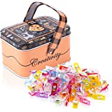 QUALITY ESSENTIALS Multipurpose Sewing Clips with Tin Box | Pack of 100 | Assorted Colors | Great for Quilting, Crafts, Bindi