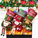 """Dreampark Christmas Stockings, Big Xmas Stockings Decoration - 18"""" Santa Snowman Reindeer Stocking for Home Decor Pack of 3 ("""