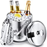 Ice Bucket, HOKEKI Stainless Steel Insulated Double Wall Bar Ice Bucket Set, Included Lid, Tongs and Strainer Keeps Ice Cold