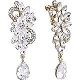 BriLove Women's Bohemian Boho Crystal Flower Wedding Bridal Chandelier Teardrop Bling Clip-On Dangle Earrings