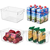 Clear Plastic Storage Organizer Container Bins with Cutout Handles, Transparent Set of 4 | BPA Free, Kitchen Cabinet Storage