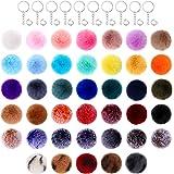 160 Pieces Pom Pom Keychain Set, Include 40 Pieces Pom Poms 2.75 Inch Faux Fur Pompoms Fluffy Balls, 40 Pieces Keychains and