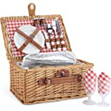 Wicker Picnic Basket for 2, Willow Hamper Basket Sets with Insulated Compartment, Handmade 2 Person Picnic Basket Classical R