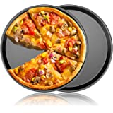 12 Inch Pizza Baking Pan 2 Pack, Middle Size Nonstick Pizza Crisper Apple Pie Pan Oven Baking Tray Platter Heavy Duty Thicken