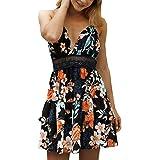 ECOWISH Womens Dresses V-Neck Spaghetti Strap Bowknot Backless Sleeveless Lace Mini Swing Skater Dress