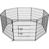 "30"" Pet Playpen Dog Dence Exercise Pen, 8 Panel Pet Dog Playpen Puppy Enclosure Fence Play Pen, Indoor/Outdoor Foldable Metal"