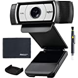 Logitech C930e 1080p HD Webcam with H.264 Compression (960-000971) + External Privacy Shutter + AOM Bundle Kit