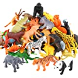 Animals Figure,54 Piece Mini Jungle Animals Toys Set,Valefortoy Realistic Wild Vinyl Pastic Animal Learning Party Favors Toys