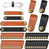 52 Pieces PU Leather Cable Straps, Earbud Cord Organizer, PU Leather Handmade Portable USB Cord Holder, Earphone Cable Tie Ca