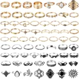 PANTIDE 67Pcs Vintage Kunckle Rings Set Stackable Finger Rings Midi Rings for Women Bohemian Hollow Carved Flowers Gold&Silve