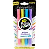 CRAYOLA Glitter Highlighter Take Note! Glitter Highlighter Markers, 4 Sparkly Colours, Chisel Tips, Thick or Thin Lines, Perf