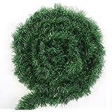 CCINEE 50 Feet Green Tinsel Garland Artificial Christmas Pine Decorative Garland Greenery Tinsel Stems Non-Lit Soft Twist Gar