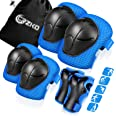 Kids Protective Gear, Knee Pads and Elbow Pads 6 in 1 Set with Wrist Guard and Adjustable Strap for Rollerblading Skateboard