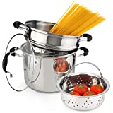 AVACRAFT 18/10 Stainless Steel, 4 Piece Pasta Pot with Strainer Insert, Stock Pot with Steamer Basket and Pasta Pot Insert, P