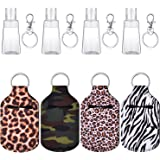 12 Pieces Travel Bottle Keychain Holders Set Included Colorful Chapstick Key Chain Holders 30 ml Refillable Empty Bottles Tra