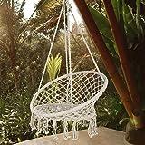 AsterOutdoor Macrame Hammock Chair Cotton Rope Swing for Indoor or Outdoor Use, Beige
