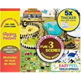 Giggles & Pebbles Educational Magic Sticker Pad Book for Kids,Toddlers, Boys and Girls - Reusable, Washable and Non-Adhesive