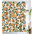 "Lifeel Orange Shower Curtains,Funny Fruit Design Fabric Summer Shower Curtain Set with 12 Hooks,Orange White 72""×72"""