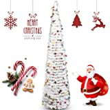 Coxeer Pop up Christmas Tinsel Tree, Christmas Tree Creative Party Decoration Xmas Ornament Home Decoration Xmas Tree for Hol