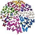 96 x PCS 3D Double Wings Colorful Butterfly Wall Stickers DIY Removable Art Decor Crafts for Nursery Classroom Offices Kids G