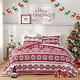 FlySheep Christmas Quilt Set Soft Microfiber Holiday Lightweight Bedspread Coverlet Bedding Set - Red & White Snowflake Print