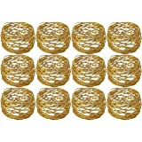 Kaizen Casa Handmade Round Mesh Napkin Rings Holder for Dinning Table Parties Everyday, Set of 12 (Gold)