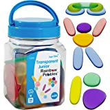 edx education Junior Rainbow Pebbles - Clear Colors - Mini Jar - Ages 18M+ - Sorting and Stacking Stones - Early Math Manipul