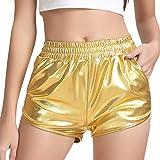 HaoDian Women's Metallic Shiny Shorts Elastic Waist Hot Yoga Outfit