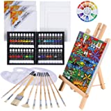 Oil Painting Set, Ohuhu 56pcs Artist Painting Set with Table Top Easel, Bristle Art Painting Brushes, Oil Paints Tubes, Canva