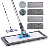Microfiber Mop Hardwood Floor Mop - MANGOTIME Dust Wet Mop with 4 Washable Chenille & Microfiber Pads and Stainless Steel Han