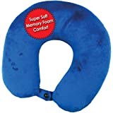 Premium Travel Neck Pillow (Blue) Super Soft Memory Foam with Washable Cover by My Perfect Nights