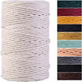 Macrame Cord 4mm x 220Yards 100% Natural Cotton Macrame Rope Cotton Cord for Handmade Macrame Supplies, Wall Hanging, Plant H
