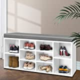 Artiss 10 Pairs Shoe Rack Bench, White