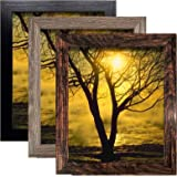 8x10 Picture Frame with High Definition Glass for Wall or Tabletop Set of 3, Rustic Photo Frame Decor