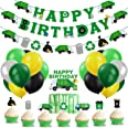 Garbage Truck Birthday Party Supplies Trash Truck Banner Garland Cake Topper Cupcake Toppers Latex Balloons for Boy's Birthda