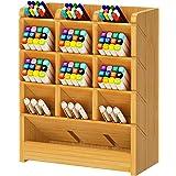 Bamboo Desk Organizer, Multi-Functional DIY Pen Holder Box, Desktop Stationary, Home Office Supply Storage Rack with Drawer