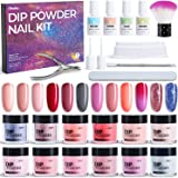 Dip Powder Nail Kit, Ohuhu 12 Colors Dipping Powder Nails Art Kit with Temperature Changing Color, Glitter, Florescent and Re