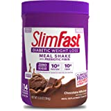 SlimFast Diabetic Weight Loss - Chocolate Milkshake Mix - 10g Protein - 14 Servings - Pantry Friendly, Chocolate, 12.8 Ounce