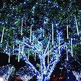 Twinkle Star Meteor Shower Rain Lights, 30cm 8 Tubes 288 LED Icicle Snow Falling Christmas Lights Outdoor Raindrop Lights, Xm