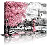 """Wall Art Black White and Pink Umbrella Couple in Street Eiffel Tower Oil Painting 20""""x28"""" Printed on Canvas Romantic Picture"""