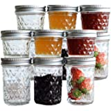 Tebery 12 Pack Mason Jars 8oz & 4oz Canning Jars Jelly Jars With Regular Lids for Jam, Honey, Wedding Favors, Shower Favors,