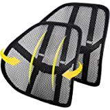 Lumbar Support (2 Pack) with Double-Layer Mesh, Mesh Back Support Cushion for Car Seat Office Chair by Kingphenix (Black, 2 P