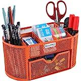 EasyPAG Desk Organizer 9 Components Mesh Office Desktop Office Supplies Set with Drawer ,Orange