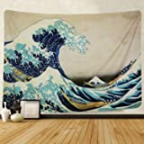 Tapestry Wall Hanging, Great Wave Kanagawa Wall Tapestry with Art Nature Home Decorations for Living Room Bedroom Dorm Decor