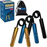 ProHand Metal Hand Grip Set, 100LB-200LB 3 Pack No Slip Heavy-Duty Grip Strengthener with Carry Bag, Great Wrist & Forearm Ha