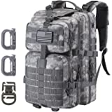 Hannibal Tactical 36L MOLLE Assault Pack, Tactical Backpack Military Army Camping Outdoor Rucksack, 3-Day Pack Trip w/USA Fla