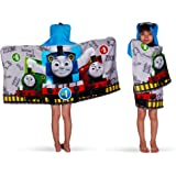 """Franco Kids Bath and Beach Soft Cotton Terry Hooded Towel Wrap, 24"""" x 50"""", Thomas and Friends"""