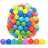 Playz 200 Soft Plastic Mini Play Balls with 8 Vibrant Colors - Crush Proof, No Sharp Edges, Non Toxic, Phthalate & BPA Free -